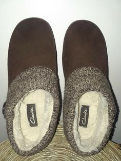 1ace8c8db CLARKS SUEDE SCUFF SLIPPER WOMENS 10 M BROWN SUEDE KNIT TRIM SLIP ON SHOES   fashion