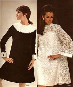Retro Fashion From 1967 Simplicity Home Catalog Fall/Winter edition - 60s And 70s Fashion, Mod Fashion, Fashion Models, Vintage Fashion, Fashion Fall, Swag Fashion, Gothic Fashion, Fashion Outfits, 1960s Dresses