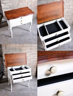 Vintage furniture refurbished  Add a black fabric inside and white paint with porcelain buttons. Available now.
