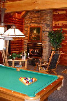 Go Cabin / Lodge. Stone And Log Furniture Cedar Cabin Pool Table #lodging