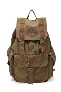 Gootium 21101AMG Specially High Density Thick Canvas Backpack Rucksack,Army Green