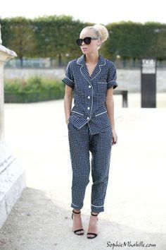 #pyjama #pyjamas #paris #bun #chignon #women #fashion #women #style #look #outfit #streetfashion #streetstyle #street #women #mode #pfw #fashionweek #mbfw #femme #moda by #sophiemhabille