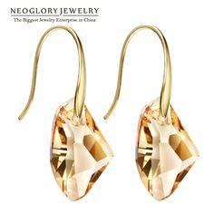 Neoglory giallo austriaco di cristallo di fascino ciondola gli orecchini di goccia per le donne nuziale gioielli regalo di modo 2017 di nuovo modo di marca js9