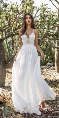 asaf dadush 2018 bridal spaghetti strap sweetheart neckline heavily embellished bodice pleated skirt romantic soft a line wedding dress open back sweep train (6) mv -- Asaf Dadush 2018 Wedding Dresses