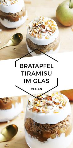 Vegan baked apple tiramisu in a glass Cheap And Cheerful Cooking - Food House Easter Recipes, Apple Recipes, Dessert Recipes, Recipes Dinner, Cinnamon Candy Apple Recipe, Caramel Apple Bites, Vegan Christmas Dinner, Christmas Recipes, Vegan Tiramisu