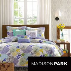 @Overstock.com - The use of bright colors can transform the ordinary room into something eye catching. The Jessica Coverlet Collection combines shades of purple, green and blue together in a random floral pattern enhanced by a stipple quilting design.  http://www.overstock.com/Bedding-Bath/Madison-Park-Jessica-6-piece-Cotton-Coverlet-Set/7828007/product.html?CID=214117 $87.99