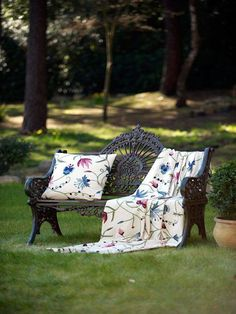 Class crewels collection of Fibre Naturelle is a traditional hand crafted Crewel from Kashmir; beautiful designs and colours embroidered to a high standard. Always evolving and remaining distinctive and authentic. Outdoor Furniture, Outdoor Decor, Armchair, Furniture Design, Bench, Colours, Throw Pillows, Traditional, Interior Design
