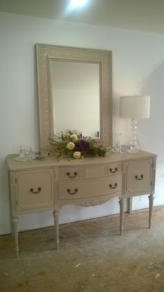 This is the buffet i painted to use as a dresser i found the mirror at home goods on clearance