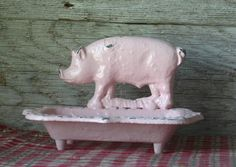 OMG how cute!!! I <3 Piggies!!!! Cast Iron Pig Business Card Holder/ Soap Dish by happybdaytome, $24.00