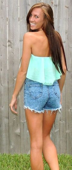 Strapless crop top and high waisted shorts