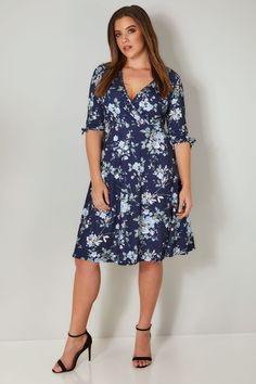 d68a1e7eca YOURS LONDON Navy Floral Wrap Dress With Tie Sleeves