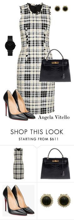 """""""Untitled #1033"""" by angela-vitello ❤ liked on Polyvore featuring Hermès, Christian Louboutin and CLUSE"""