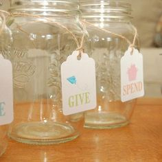 (Free Printable) Save, Give, Spend jars (- did this today!  Used pipe cleaners in multiple colors instead of twine.)