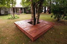 That& right mom and I built this. Inspired by a pin! That's right mom and I built this. Inspired by a pin! Backyard Fences, Backyard Projects, Outdoor Projects, Tree Seat, Tree Bench, Deck Around Trees, Courtyard Landscaping, Backyard Seating, Backyard Paradise