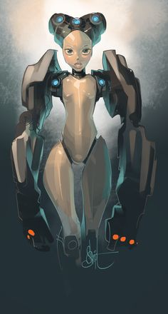 by Otto Schmidt Otto Schmidt, Character Concept, Concept Art, Dreamworks, Robot Girl, Animation, Comic Book Artists, Character Design References, Sci Fi Art