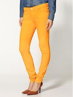 I have been on a hunt for a yellow jeans and I finally found it: 7 For All Mankind The Skinny-Slim Illusion Jeans   Piperlime