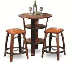 Awesome  Barrel Bistro Bar Pub  Table Set with 2 Leather Top Stools. #Unspecified #RusticPrimitive