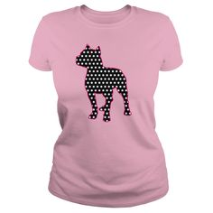 Pitbull silhouette filled with black and white polka dot pattern, outlined in pink. Great for women who love this working dog breed.