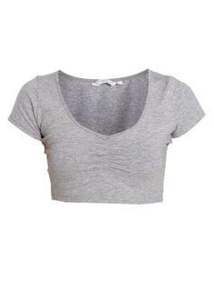 Charcoal (Grey) Grey Ballet Crop Top | 250400403 | New Look