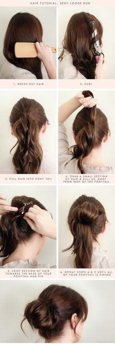 Seven steps to the perfect loose bun. This would probably be to much work to wear a bun on a regular day, but this would be a pretty bun for special occasions.