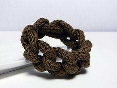 Cocoa brown pure cotton yarn chain bracelet  - tricotin