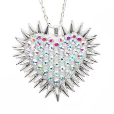 """Xirius"" Spiked & Pavèd Heart Necklace in Aurora"
