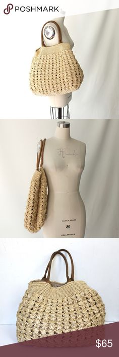 """120% HNO Woven Straw Tote Purse Beach Bag 120% HNO woven straw basket purse has brown suede handles, a clasp closure, and a spacious interior lined in waterproof nylon-canvas with one side zipper pocket. This bag holds a ton of stuff and easily folds up for storing. Excellent condition inside and out. Meticulous attention to detail is applied to the manufacturing of the pieces which are crafted using the finest materials.  Length 20"""" Height 16"""" Depth 17"""" Drop 9.5"""" Top Opening 17"""" 120% hno…"""