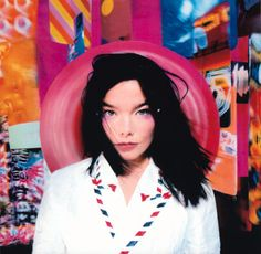 Björk's album artwork – in pictures Post, 1995 Björk's second album explored the isolation she felt from her friends and family in Iceland. For this cover, Me Company surround her with giant abstract postcards that represented the communication between the peripatetic artist and her loved ones. The image was photographed on a street in London.  Photograph: Stéphane Sednaoui/One Little Indian