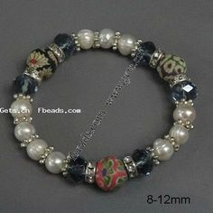 Crystal Pearl Bracelets, with Polymer Clay & Freshwater Pearl, 8-12mm, Sold Per 7.5 Inch Strand