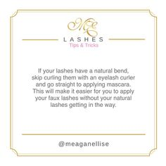 Happy Weekend! 💕 ✨No need to go crazy with pumping up your lashes if they are already on point with some natural curl! Those pesky little lashes will get in the way! 👌🏼 xx #LashTips #MeaganEllise