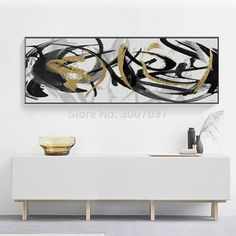 Hand Painted Modern Abstract Oil Painting Wall Art Canvas Painting Black Gold Line Pictures for Living Room Decor No Frame Canvas Wall Art, Canvas Prints, Nordic Art, Living Room Pictures, Oil Painting Abstract, Modern Wall Art, Black Gold, Living Room Decor, Decor Ideas
