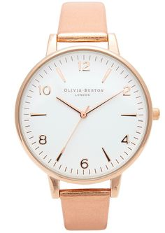 Olivia Burton High Shine Metal Large Face Watch - Rose Gold | simplicity, grace and ease for Christmas