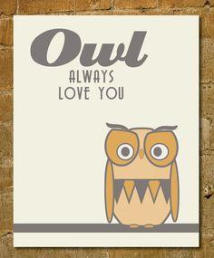 Retro Owl Kids Room Print- Valentines Gift