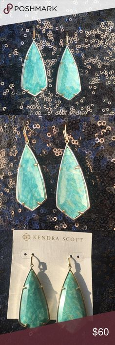 Kendra Scott Amazonite Caroline Amazonite stone drop earrings set in gold tone hardware Kendra Scott Jewelry Earrings