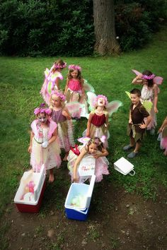 Fairy party activity.  Goblins are apparently the fairy's natural enemy.  Create a goblin target on a large piece of cardboard then let fairies loose with water balloons.
