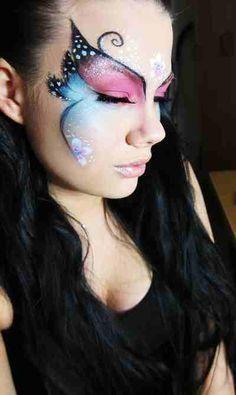 20 New Ideas Eye Design Face Painting Halloween Makeup Butterfly Face Paint, Butterfly Makeup, Butterfly Costume, Butterfly Fairy, Butterfly Eyes, Face Painting Designs, Body Painting, Cute Halloween, Halloween Face Makeup