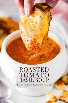 This Roasted Tomato Basil Soup is the ultimate in comfort. Roasting the tomatoes gives the soup a deep, rich flavor. And over-the-top good with grilled cheese sandwiches. Roasted Tomato Basil Soup, Roasted Tomatoes, Tomato Soups, Tomato Soup Grilled Cheese, Tomato Bisque Soup, Vegan Tomato Soup, Creamy Tomato Basil Soup, Creamy Chicken Pasta, Think Food