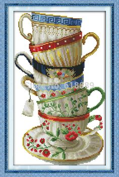 New!! Elegant Coffee Cup Counted 11CT 14CT DMC Cross Stitch DIY Dimension Cross Stitch Kits for Embroidery Home Decor Needlework