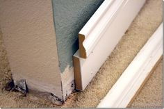 Idea for taller baseboards...take a plain piece of wood and put it under a pretty trim piece. Caulk and paint!