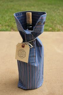 Men's dress shirt sleeve + bottle of wine = a great little hostess gift