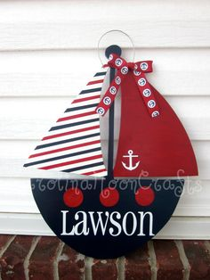 Sailboat Door Decor Sailboat Door Hanger by CarolinaMoonCrafts