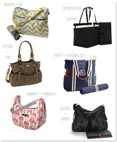 Chic & stylish diaper bags - stay tuned for a diaper bag giveaway coming tomorrow!