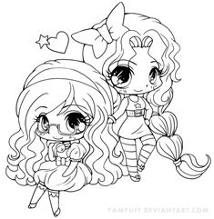 Permission to color. Bell and Star Chibi Lineart by YamPuff.deviantart.com on @deviantART