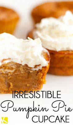 Irresistible Pumpkin Pie Cupcakes - - As soon as September rolls around, my taste buds start yearning for the pumpkin and spice flavors of fall. The work involved in baking an entire pie is not something I particularly look forward to. Pumpkin Recipes, Fall Recipes, Holiday Recipes, Pumpkin Pie Cupcakes, Pumpkin Dessert, Pumpkin Pie Muffins, Köstliche Desserts, Dessert Recipes, Plated Desserts