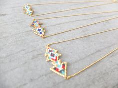 Items similar to Double chevron necklace, japanese miyuki delica beads, gold plated findings, original pattern on Etsy Chevron Necklace, Bijoux Diy, Brick Stitch, Arrow Necklace, Jewelry Making, Bracelets, Etsy, Beads, The Originals