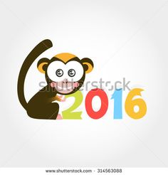 2016 symbol monkey - stock vector