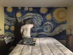 "This Dad Painted ""Starry Night"" On His Wall In Just One Day .- This Dad Painted ""Starry Night"" On His Wall In Just One Day And It's Beautiful It looks SO close to the original painting. Decoration Bedroom, Wall Decor, Decor Room, Van Gogh Pinturas, Wall Murals Bedroom, Wall Drawing, Beautiful Beautiful, Wall Paintings, Room Wall Painting"