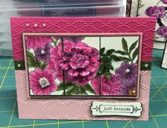 Today's SCS Challenge, Repeat After Me:  F4A241 Use one stamp and stamp multiple times.  I stamped the Corner Garden Back Ground stamp three times, and cut portions of the large flower out from two of the stamped images to layer on top.  The added bonus for today was to use pink so I used Blushing Bride.  This is also for Wednesday's Sketch Challenge: SC508.   ------------ More information about this card can be found on my Blog…