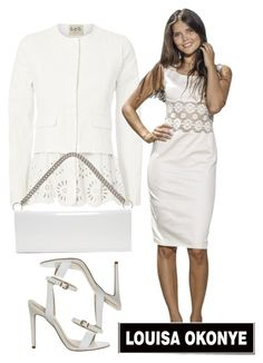 """""""All White - White Pencil Dress With Lace Paneling"""" by louisaokonye ❤ liked on Polyvore featuring Sea, New York and Vetements"""