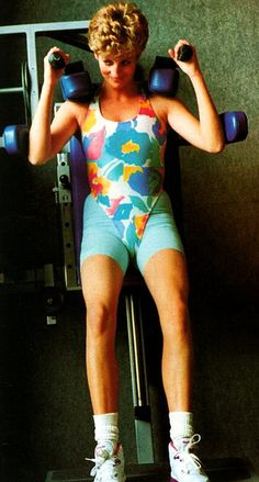 Even working out Princess Diana had to have her hair done/ I believe she hated that.